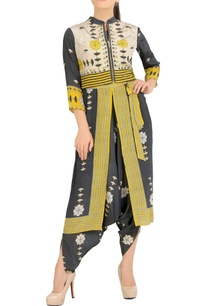 black-yellow-printed-jumpsuit-with-jacket