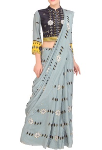 grey-printed-sari-with-button-down-blouse