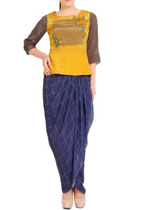 mustard-printed-peplum-top-with-dhoti