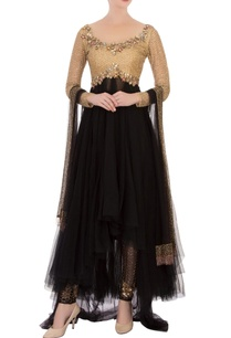 black-net-anarkali-set