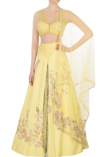 yellow-raw-silk-net-lehenga-set