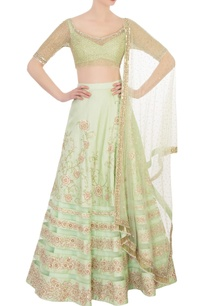 green-raw-silk-lehenga-set
