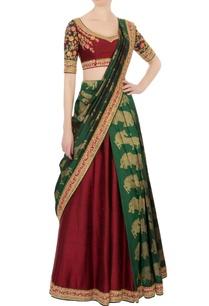 maroon-green-kanjivaram-lehenga-silk-sari-set