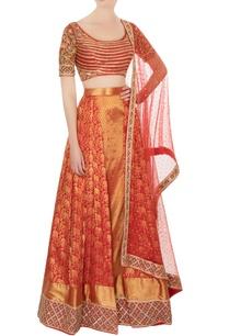 red-maroon-kanjivaram-silk-lehenga-set