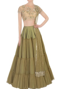 green-lehenga-beige-embroidered-blouse-with-dupatta