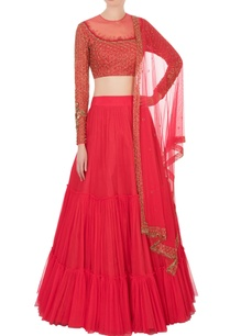 red-net-tiered-lehenga-set