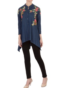blue-embroidered-denim-asymmetric-tunic