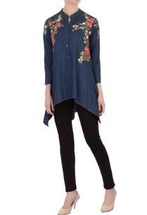 blue-embroidered-denim-asymmetric-tunic
