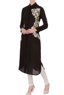 black-linen-embroidered-kurta