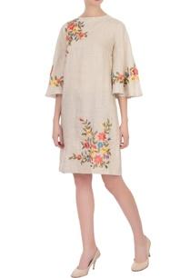 beige-linen-embroidered-short-dress