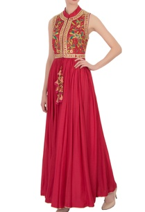 red-peacock-motif-gota-embroidered-dress