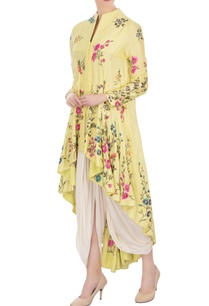 yellow-high-low-kurta-with-off-white-dhoti