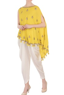 yellow-mirror-cape-satin-dhoti