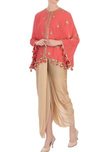 coral-pink-georgette-silk-cape-cowl-pants