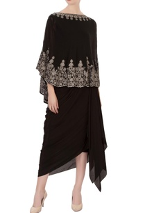 black-aari-work-cape-dhoti-skirt