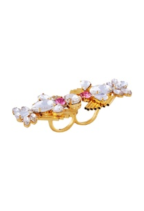 white-pink-swarovski-two-finger-ring