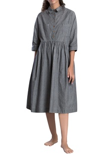 grey-drop-down-waist-dress