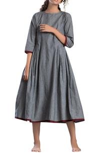 grey-striped-a-line-dress