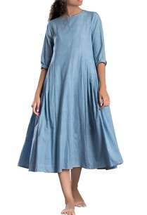 light-blue-solid-a-line-dress