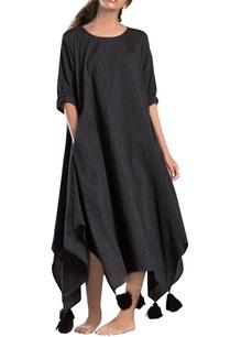 black-stripe-asymmetrical-dress
