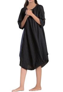 black-striped-cowl-dress