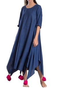 blue-tassel-asymmetrical-dress