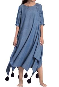 blue-asymmetrical-khadi-dress