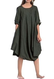 military-green-cowl-dress