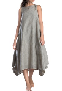 ivory-cowl-checks-dress