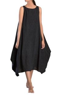black-side-cowl-striped-dress