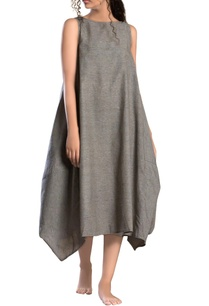 grey-side-cowl-textured-dress