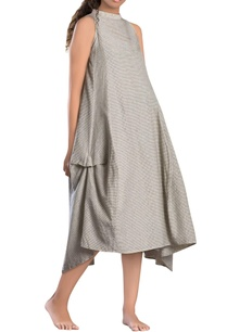 grey-check-paneled-asymmetrical-dress