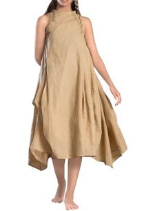 brown-striped-paneled-asymmetrical-dress