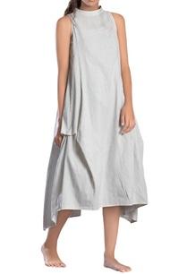 white-striped-paneled-asymmetrical-dress