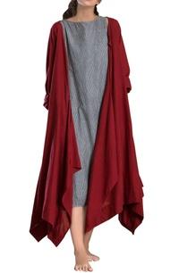 red-asymmetrical-hand-woven-linen-jacket