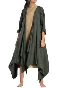 military-green-asymmetrical-dress