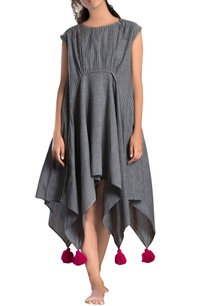 grey-striped-assymetrical-dress