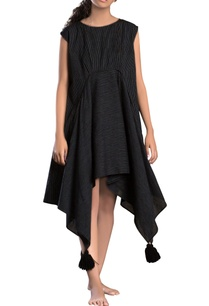 black-striped-assymetrical-dress
