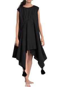 black-striped-assymetrical-dress