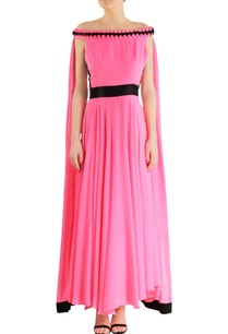 pink-gown-with-flowy-cape-sleeves