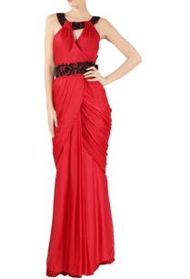red-satin-embroidered-sari-gown