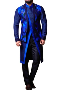 blue-patchwork-nehru-jacket-set