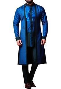 blue-layered-shirt-collar-kurta