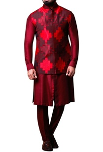 maroon-red-patchwork-jacket-set