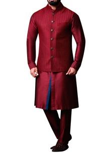 maroon-textured-bandhi-jacket-set