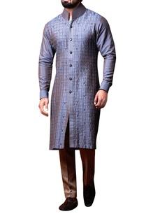 grey-pleated-kurta-beige-trousers