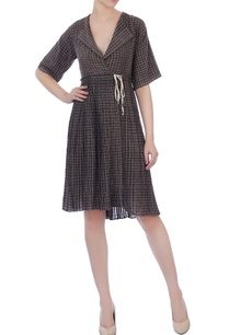 charcoal-black-organic-handwoven-cotton-checked-dress