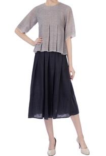 grey-handwoven-organic-cotton-shirt-pleated-skirt