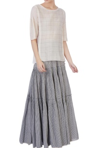 light-grey-ecru-organic-handwoven-cotton-striped-checked-skirt-and-blouse