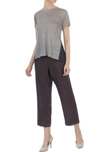 dark-grey-light-grey-silk-linen-organic-handwoven-cotton-pleated-blouse